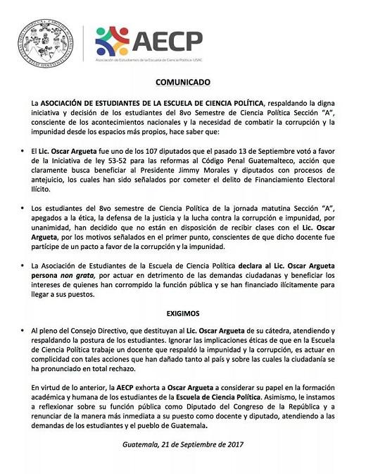 Asociación de Estudiantes de la Escuela de Ciencias Políticas declaró non grata a la diputada Eva Monte. (Foto Prensa Libre: AECP)