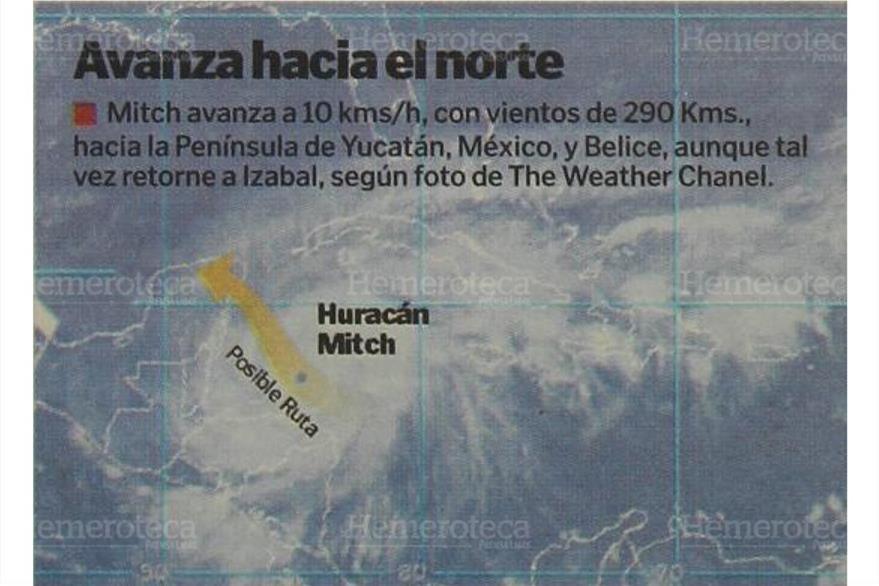 Ruta del Huracán Mitch,en 1998, el más poderoso después de Fifí. (Foto: Hemeroteca PL)