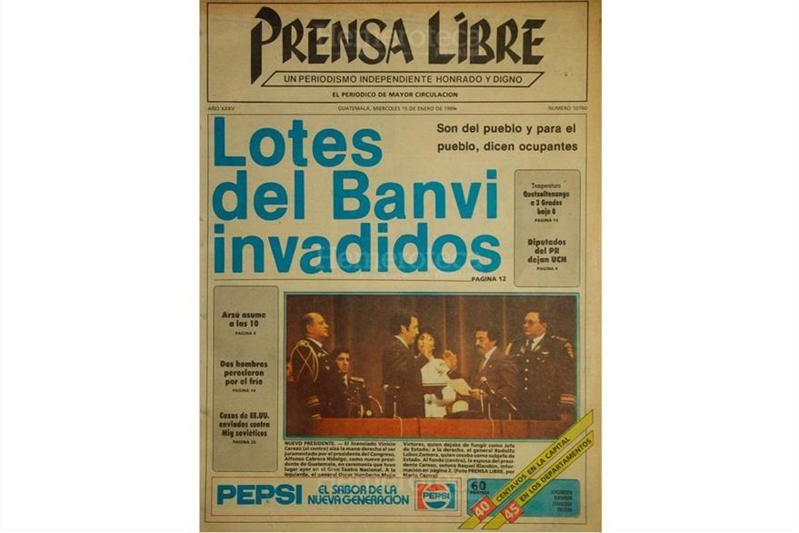 Portada de Prensa Libre del 15 de enero de 1986, con la toma de posesión de Marco Vinicio Cerezo Arévalo. (Foto: Hemeroteca PL)