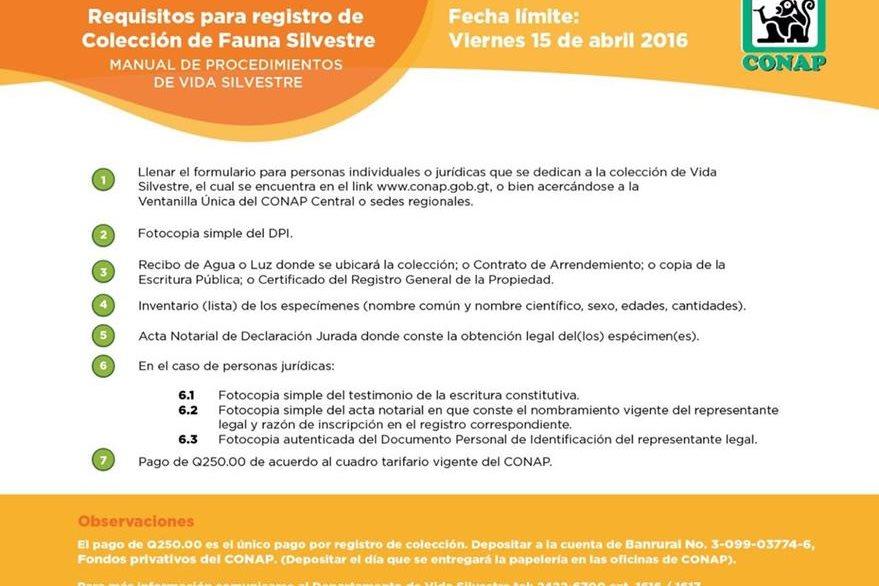 Requisitos para registrar fauna silvestre en el Conap. (Foto Prensa Libre: Hemeroteca PL)