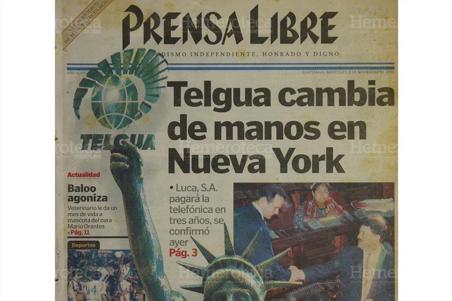 11/11/1998 Portada de Prensa Libre daba a conocer sobre la operación en Nueva York de la venta de Telgua. (Foto: Hemeroteca PL)