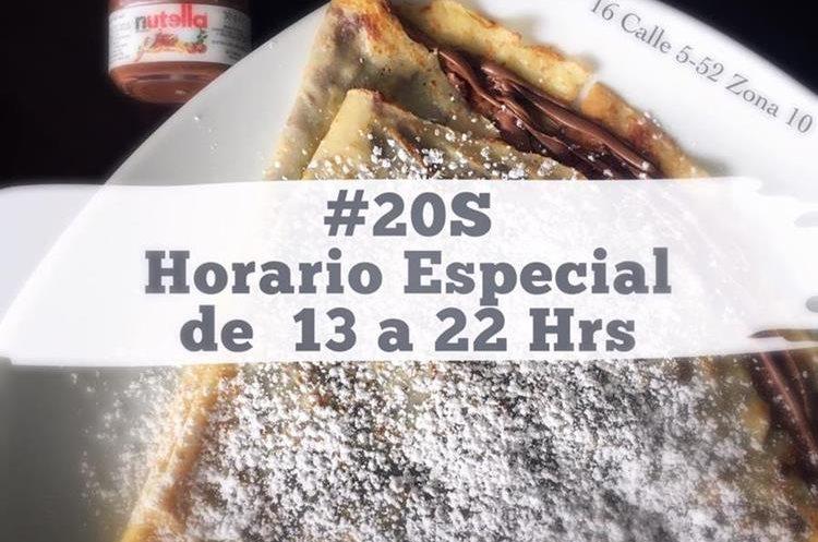 El café Luna de Miel también manifestó su apoyo a marcha pacífica del 20 de septiembre. (Foto Prensa Libre: Cortesía)