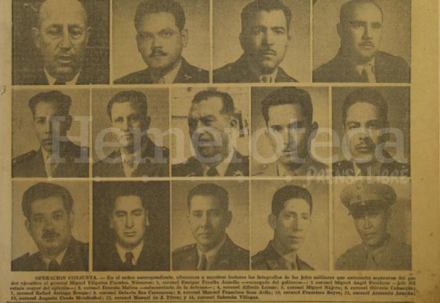 Militares que intervinieron en el golpe de Estado para derrocar al general Miguel Ydígoras Fuentes. (Foto: Hemeroteca PL)