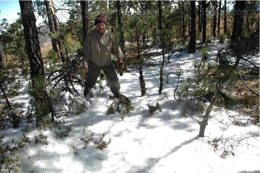 Debido a las bajas temperaturas un poblador  juega con la nieve el 30/1/2008. (Foto: Hemeroteca PL)