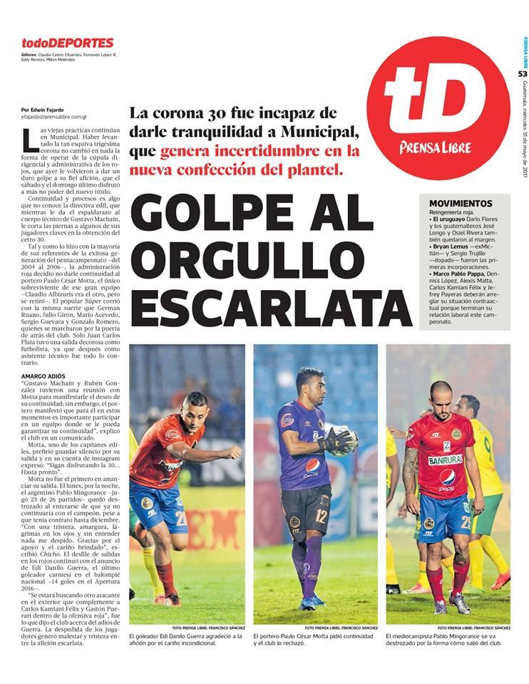 Esta es una de las notas publicadas por Tododeportes y que el club Municipal considera que van en su contra. (Foto Prensa Libre: Hemeroteca PL)