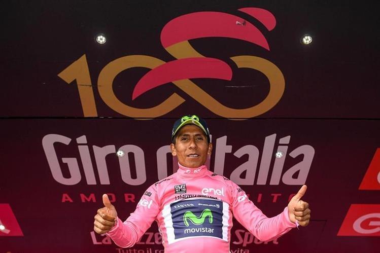 El colombiano Nairo Quintana es el actual líder del Giro. (Foto Prensa Libre: AP).