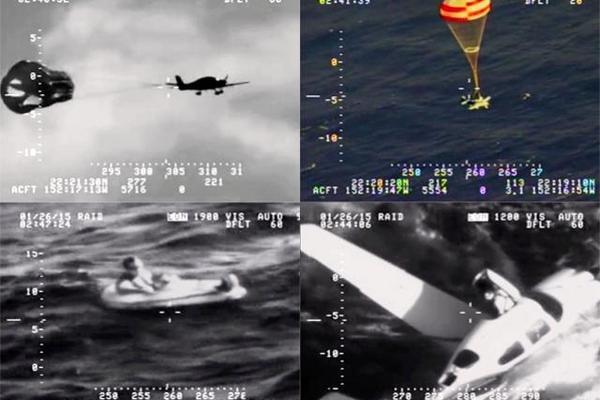 <p>La nave Cirrus SR-22 fue salvada de estrellarse en el agua. (Foto Prensa Libre: Defense Video and Imagery Distribution)</p>