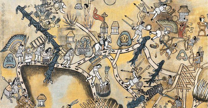 Documentación en el Lienzo de Quauhquechollan del encuentro de los conquistadores quauhquecholtecas y españoles con los kaqchiqueles, ocurrido en el actual Los Encuentros, Sololá. (Fotos: Universidad Francisco Marroquín).