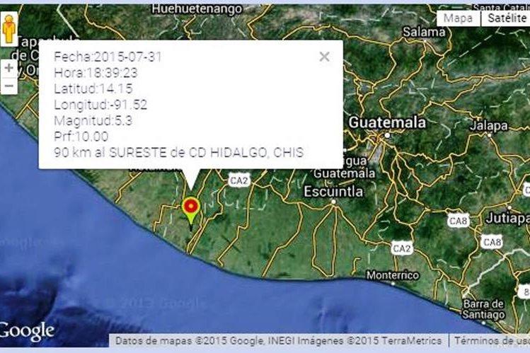 Información del sismo, según reporte de México. (Foto Prensa Libre: Internet)