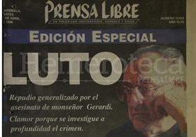 Detalle de la Portada de Prensa Libre del 28/04/1998. (Foto: Hemeroteca PL)