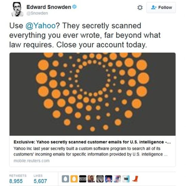"""¿Usas Yahoo? Cierra tu cuenta hoy mismo"", dijo Edward Snowden en Twitter. (TWITTER)"