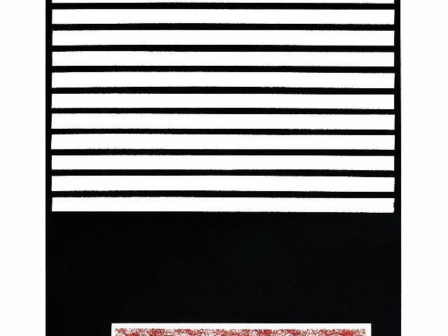 """Negro y blanco, líneas que se transforman en cuadros plasma Edwin  Bixcul, que presenta la serie República Inválida. """"Son formas que parecen códigos que validan o invalidan  un trabajo"""", explica el autor."""