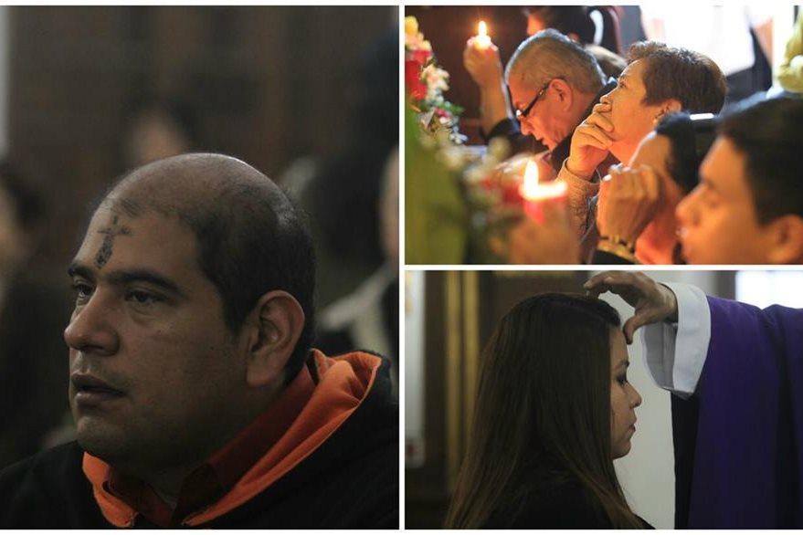 Fieles asisten a iglesias en Miércoles de Ceniza. (Foto Prensa Libre: Estuardo Paredes y Óscar Rivas)