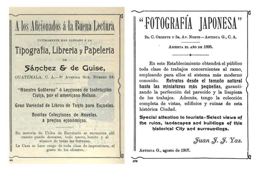La imprenta Sánches & De Guise (Guatemala) y el fotógrafo Juan Yas (Antigua Guatemala) también se promocionaron en la guía informativa. (Foto: La República).