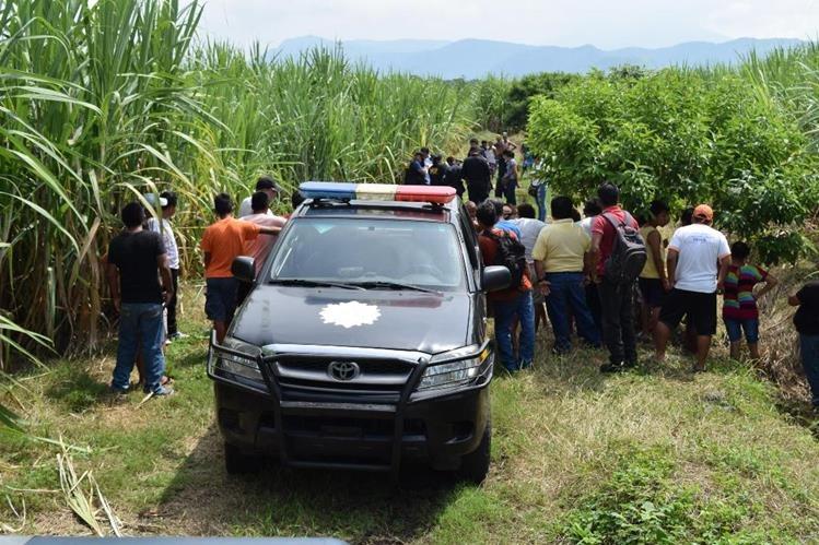 Lugar donde fue localizado el cadáver de Pedro Antonio Sandino, en Escuintla. (Foto Prensa Libre: Enrique Paredes)