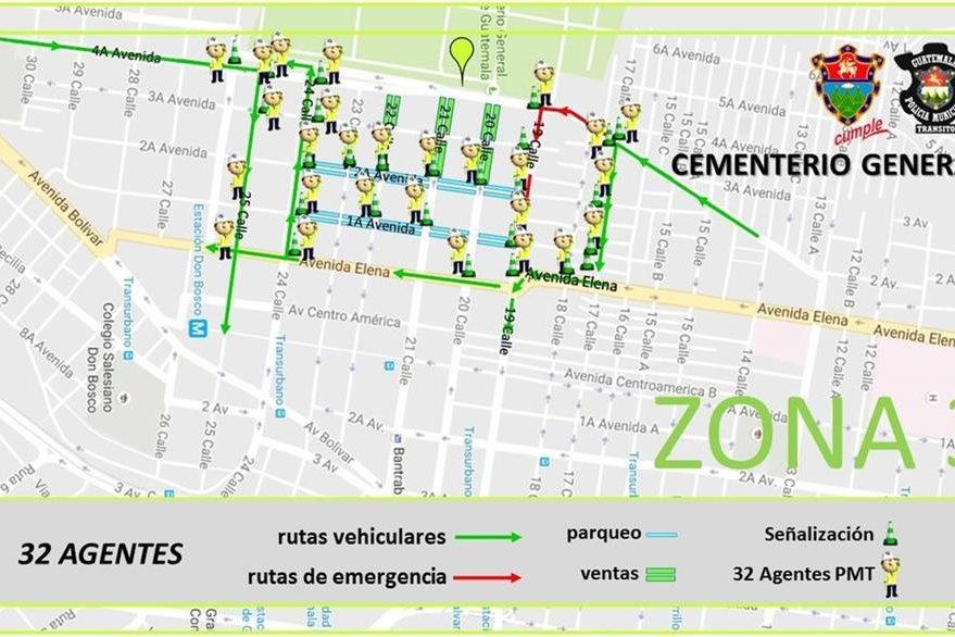 Mapa de las calles cerradas por ventas y el paso vehicular en los alrededores del Cementerio General. (Foto, Prensa Libre: Municipalidad de Guatemala)