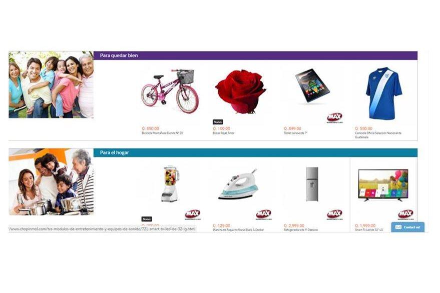 Estas son algunas de las secciones de la tienda en línea.