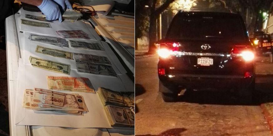 Las autoridades detuvieron una pesona que trasportaba más de US$13 mil en una camioneta. (Foto Prensa Libre: MP)