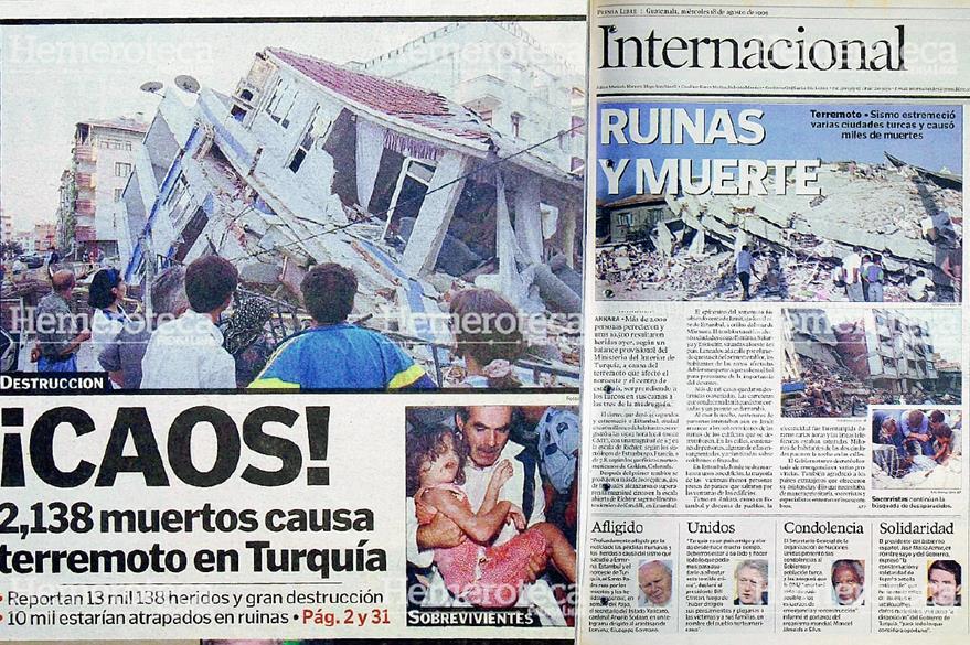 Parte de la portada y nota dedicada al Terremoto de Turquía en Agosto de 1999. Foto: Hemeroteca PL