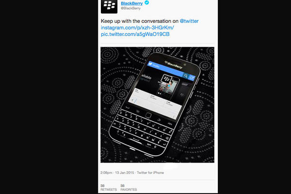 """<p>Blackberry publicó un tuit desde un iPhone. (Foto Prensa Libre: Twitter)<br _mce_bogus=""""1""""></p>"""