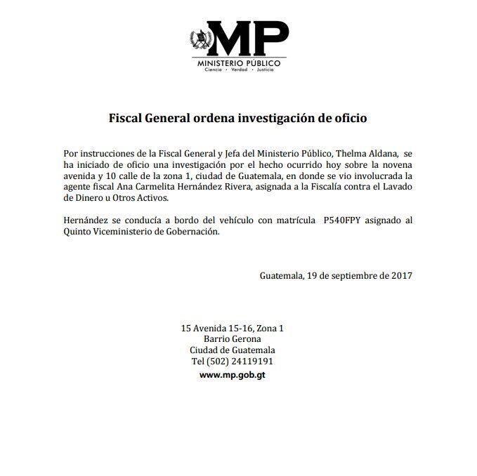 El Ministerio Público emitió un comunicado sobre las acciones que tomarán tras la agresión que la fiscal cometió contra un anciano. (Foto Prensa Libre: MP)