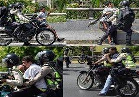 Un combo de fotografías muestra la persecución y captura de manifestantes por la Policía.(AFP).