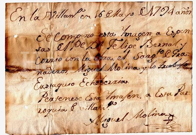 Mensaje localizado en una imagen de Villa Nueva. (Foto: Hemeroteca PL)