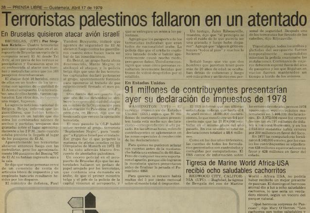 Nota de Prensa Libre del 17/04/1979 informando sobre fallido atentado en Bruselas. (Foto: Hemeroteca PL)