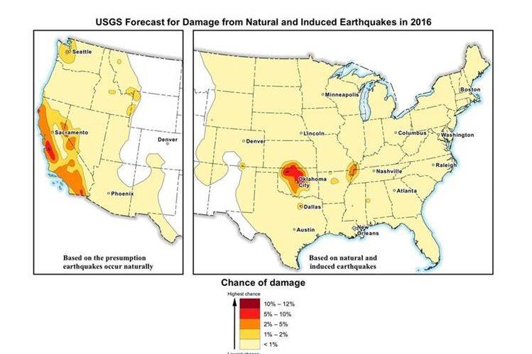 La imagen de la USGS muestra el pronóstico de daños de terremotos naturales e inducidos en los EE.UU. en 2016. (Foto Prensa Libre: AP).