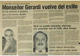 15/8/1994 Vuelve del exilio Monseñor Gerardi luego de permanecer en Costa Rica. (Foto: Hemeroteca PL)
