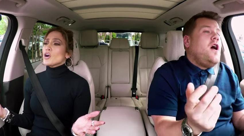 Los videos de Carpool Karaoke se han convertido en un fenómeno viral. En la imagen, una escena de la participación de Jennifer López en el segmento. (Foto: Hemeroteca PL).