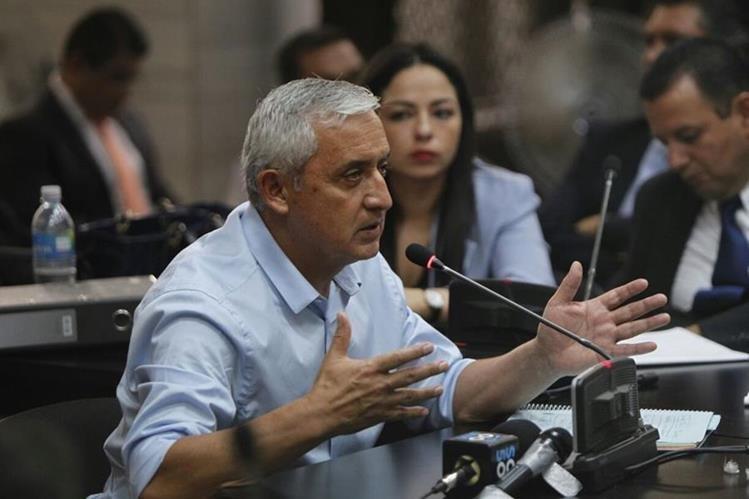 Otto Pérez Molina, expresidente de la República, se pronuncia ante el juez Miguel Angel Gálvez en la audiencia de primera declaración por el caso de usufructo para TCQ.