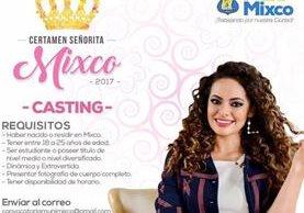 La comuna de Mixco impulsa un certamen de belleza y ofrece como premio una plaza de trabajo. (Foto Prensa Libre: Facebook)