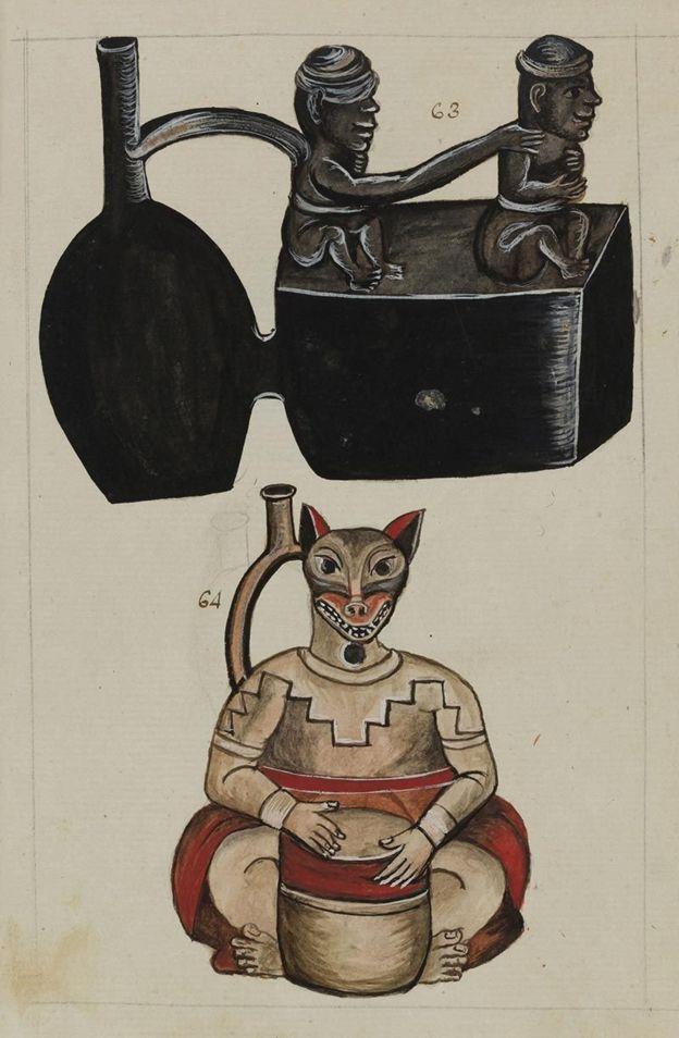 Las imágenes representan huacos de estilo precolombino. ALCALÁ SUBASTAS