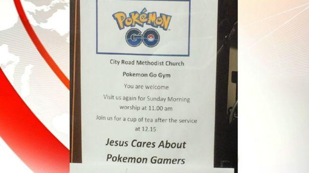 La Iglesia metodista de la localida de City Road da la bienvenida a los jugadores de Pokémon Go.