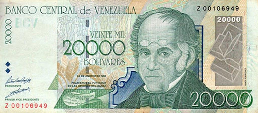 Nueva versión del billete de 20 mil Bolívares. (Foto Prensa Libre: BCV)