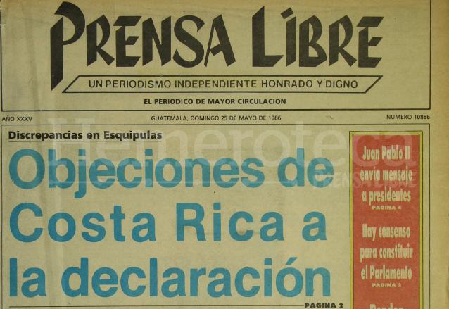 Titular de Prensa Libre del 25 de mayo de 1986 informando sobre la histórica reunión en Esquipulas. (Foto: Hemeroteca PL)