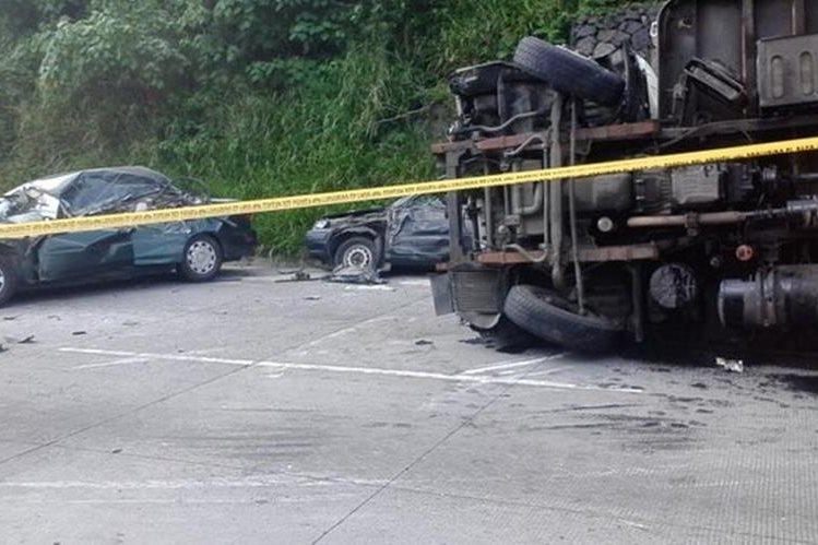 Lugar del percance en Palín, Escuintla. (Foto Prensa Libre: @TPolideport)
