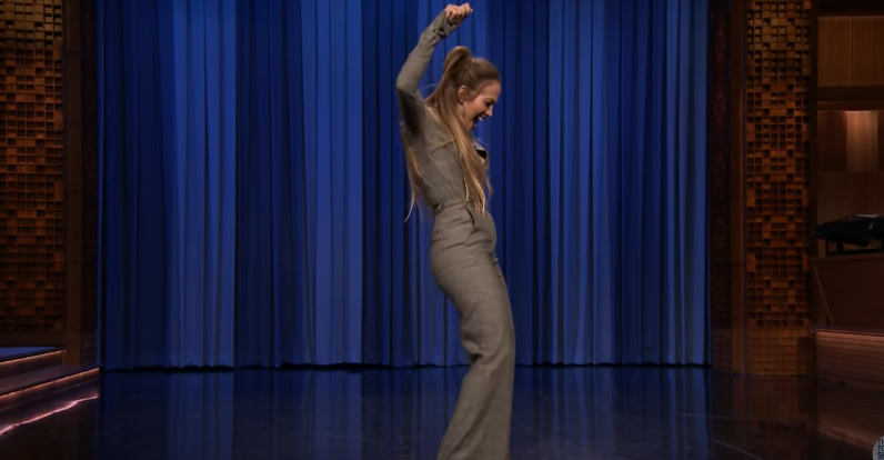 Jennifer Lopez, durante una de sus actuaciones de baile en The Tonight Show.