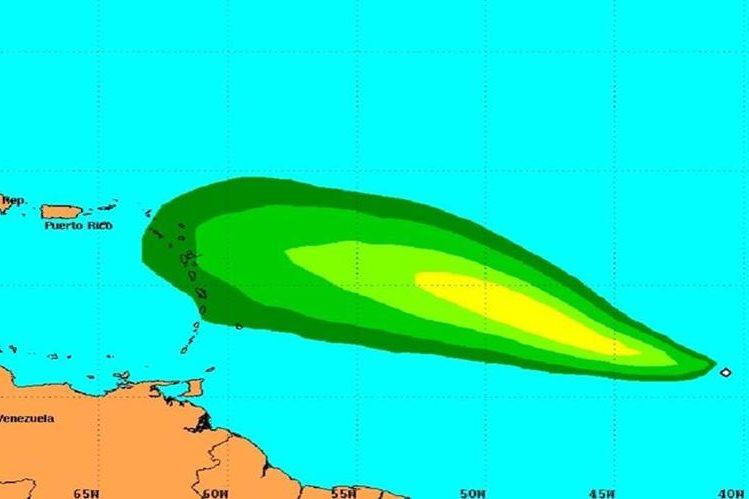 <em>Ubicación de la tormenta tropical Danny.</em>