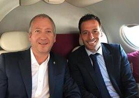 Vadim Vasilyev vicepresidente del Mónaco junto al exjugador Ludovic Giuly. (Foto Prensa Libre: Twitter)