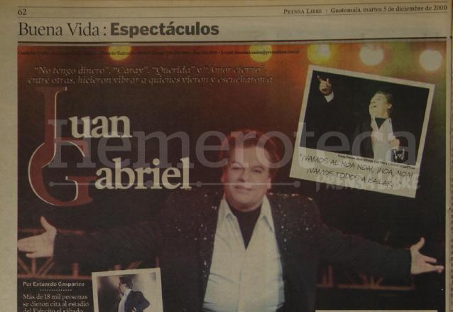 El Divo de Juárez cautivó a más de 18 mil guatemaltecos el 2 de diciembre del 2000. (Foto: Hemeroteca PL)