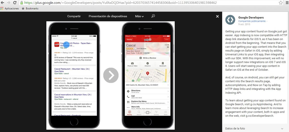 Google anunció a través de google plus que enlazará apps de iPhone desde su versión móvil de de Safari. (Foto Prensa Libre: Tomada de plus.google.com/+GoogleDevelopers/posts).