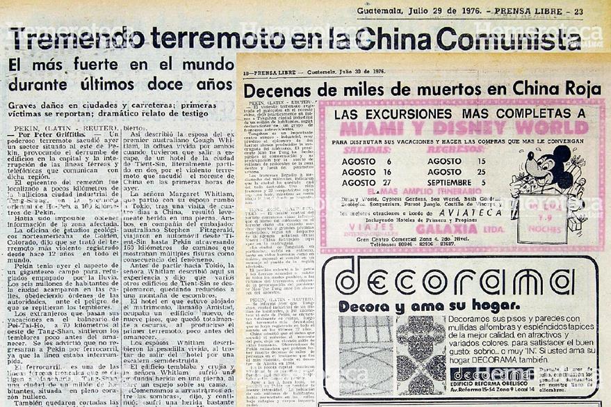 Notas relacionadas con el Terremoto de China en 1976. Foto: Hemeroteca PL