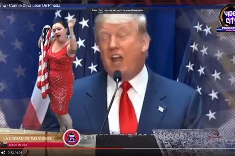 Connie Pineda aparece en el video de la canción que compuso contra Donald Trump. (Foto Prensa Libre: Youtube)