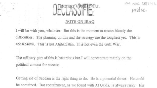 Nota enviada por Blair a Bush.