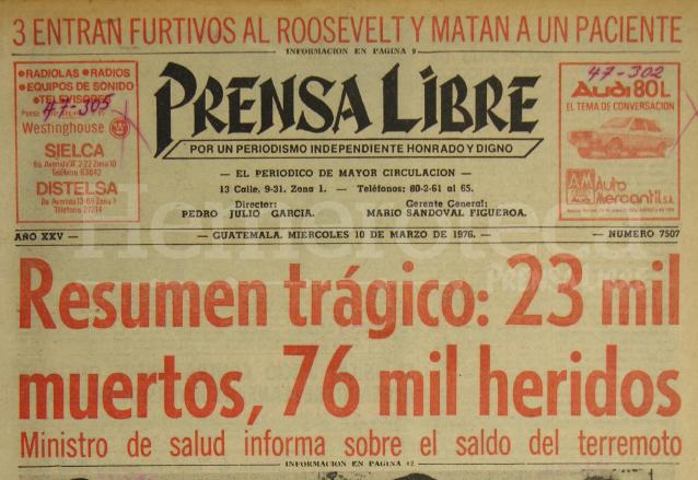Portada de Prensa Libre del 10 de marzo de 1976 (Foto: Hemeroteca PL).