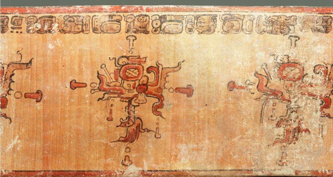 Vaso con inscripción jeroglífica debajo del borde, usado para indicar el contenido de las vasijas, los nombres de sus dueños e incluso la firma del artista. (Foto: Colección del Museo Popol Vuh/UFM y Nicholas Hellmuth/FLAAR).