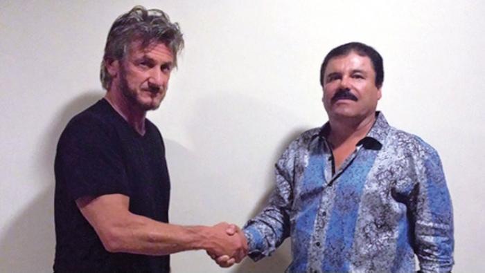 """El actor Sean Penn (i), y el """"Chapo"""" Guzmán (D) durante una entrevista que el actor de Hollywood, hizo pública en la revista Rolling Stone. (Foto Prensa Libre: Hemeroteca PL)."""