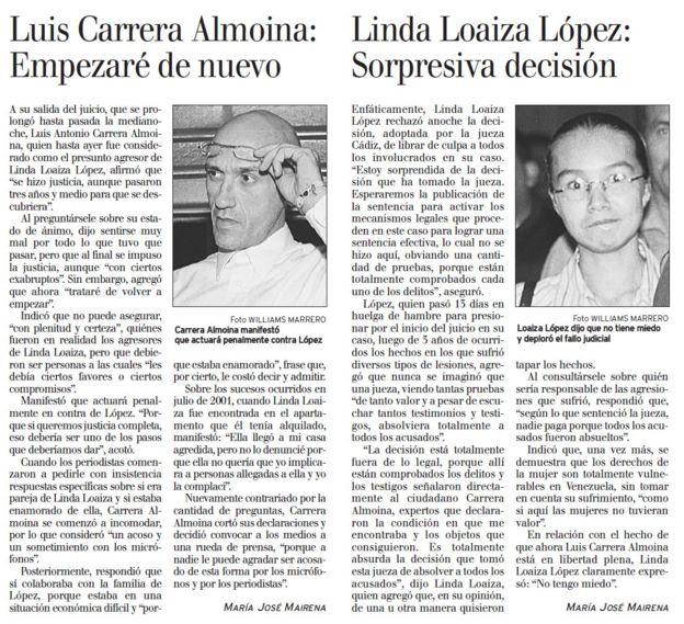 El Nacional publicó las reacciones de ambas partes el 22 de octubre de 2004, cuando Carrera fue absuelto.